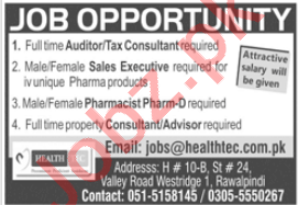Health Tech Rawalpindi Jobs 2020 Auditor & Tax Consultant