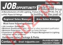 Paklite Group Gujranwala Jobs 2020 for Sales Manager
