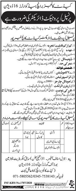 Pakistan Army Cadet College Jobs 2020 in Pano Aqil
