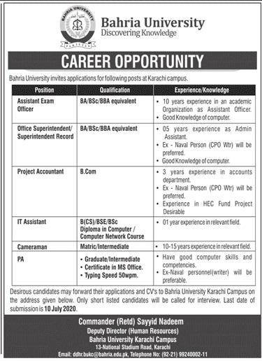 Bahria University Jobs 2020 in Karachi Campus