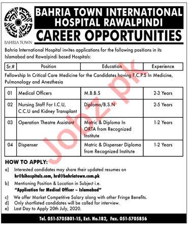 Bahria Town International Hospital Rawalpindi Jobs 2020