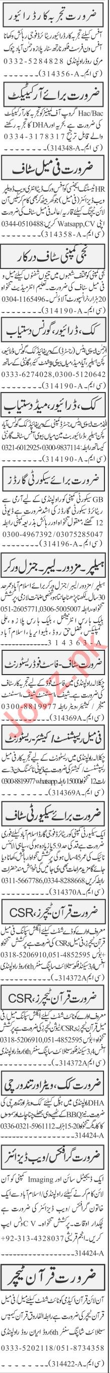 Jang Sunday Classified Ads 12th July 2020 for Office Staff