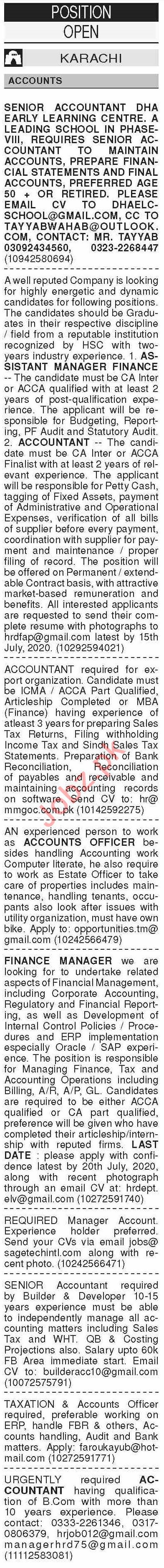 Dawn Sunday Classified Ads 12th July 2020 for Accounts