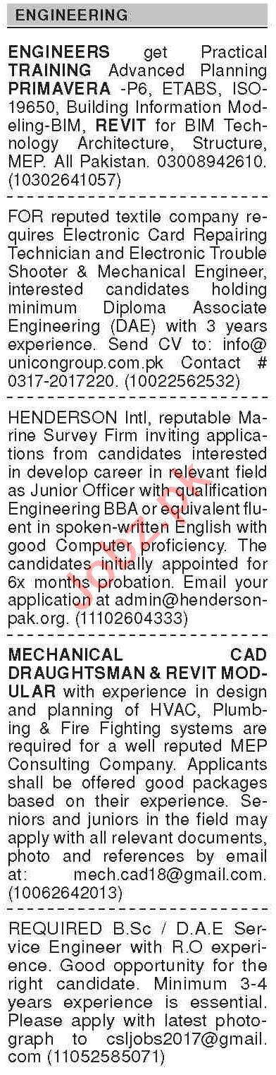 Dawn Sunday Classified Ads 12th July 2020 for Engineering