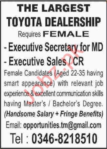 Executive Secretary & Executive Sales Jobs 2020