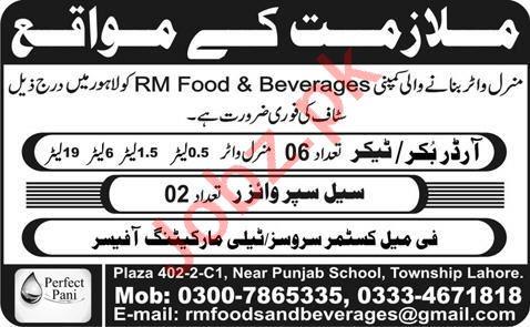 Order Booker & Sale Supervisor Jobs 2020 in Lahore
