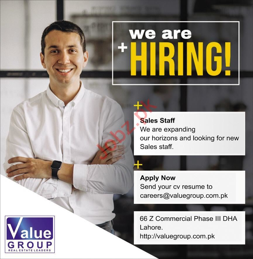 Value Group Lahore Jobs 2020 for Sales Staff