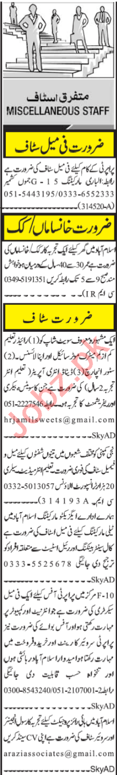 Store Incharge & Marketing Staff Jobs 2020 in Islamabad