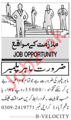 Plumber & Steel Fixer Jobs 2020 in Karachi
