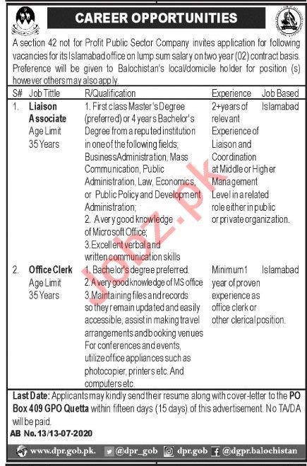 P O Box 409 GPO Quetta Jobs 2020 for Liaison Associate