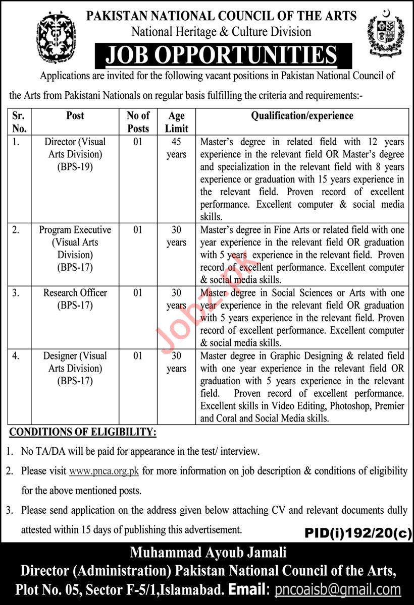 Pakistan National Council of the Arts PNCA Jobs 2020