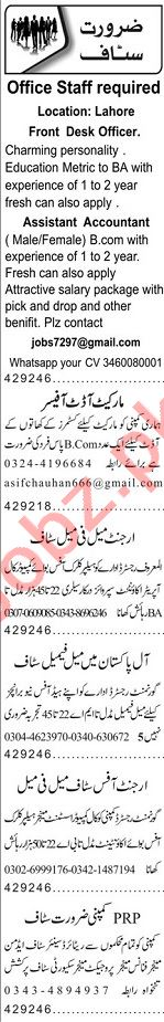 Accounts Officer & Finance Manager Jobs 2020 in Lahore