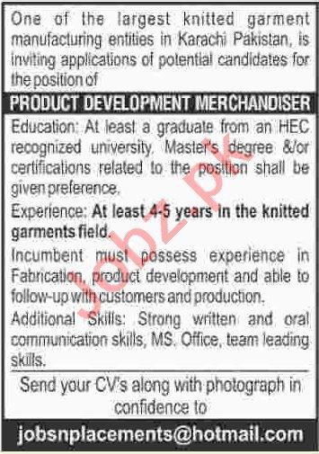 Product Development Merchandiser Jobs 2020 in Karachi