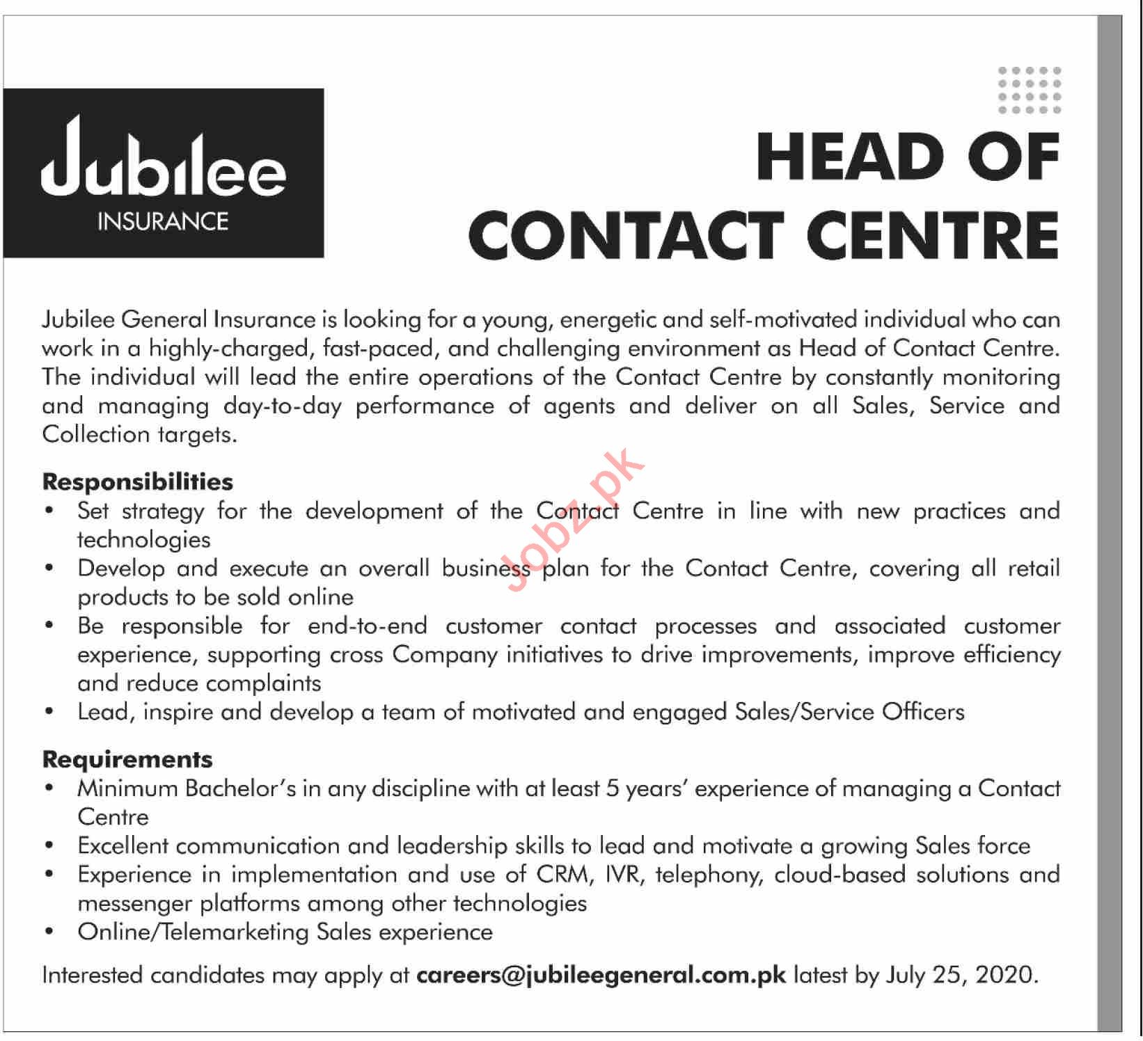 Jubilee Insurance Karachi Jobs for Head of Contract Centre