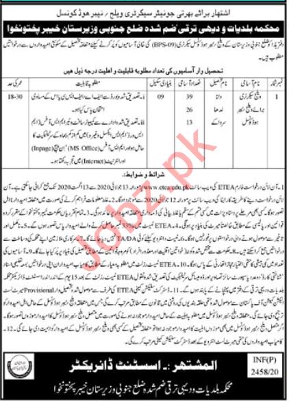 Neighbourhood Council South Waziristan Jobs for Secretary