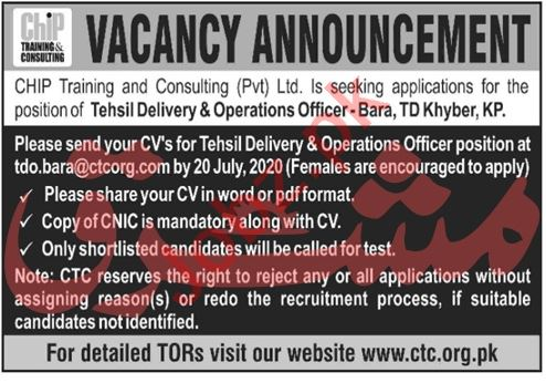 CHIP Training & Consulting Bara Jobs 2020 Operation Officer