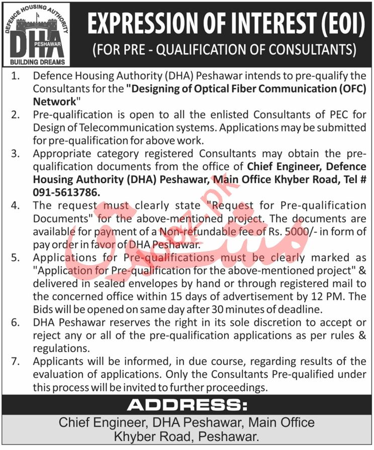 Defence Housing Authority DHA Peshawar Jobs for Consultant