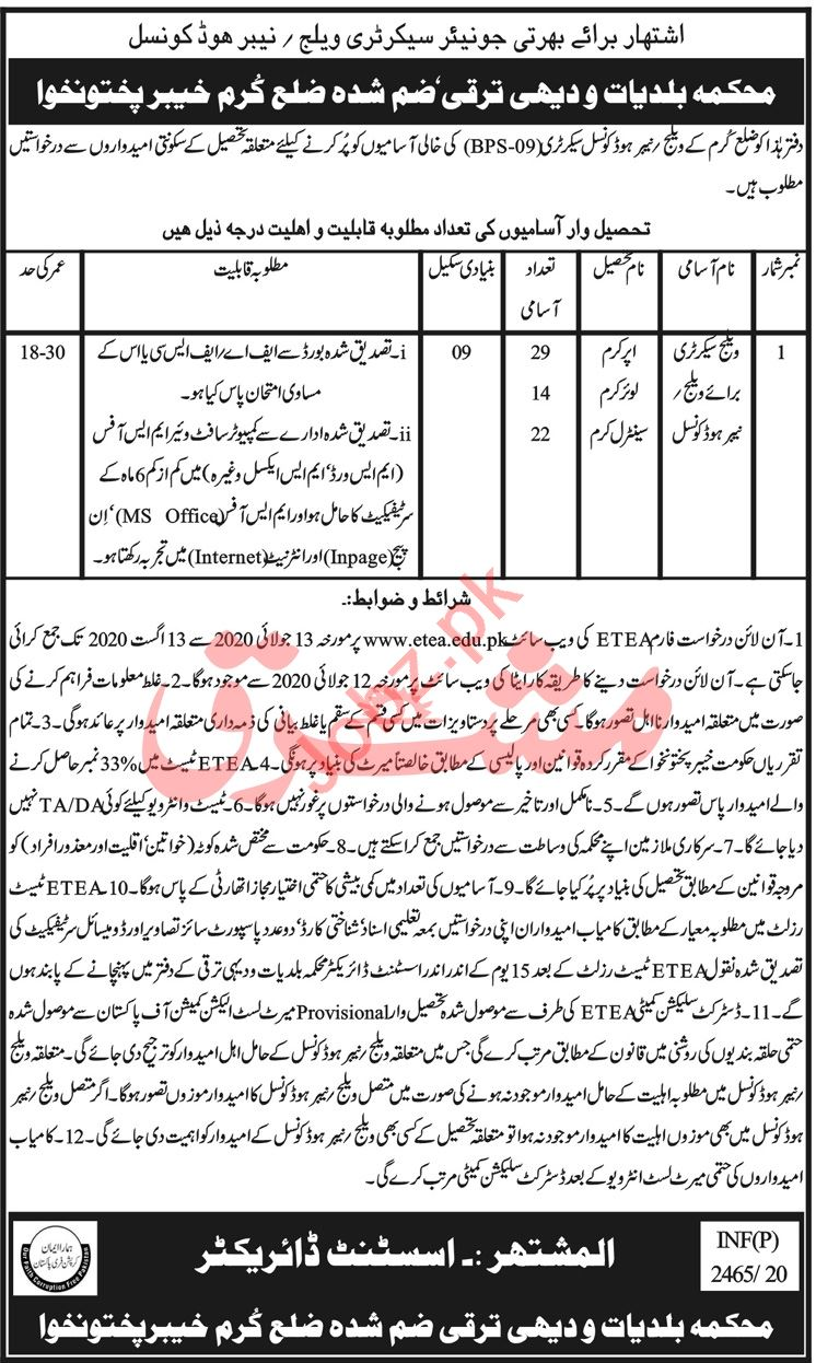 LG&RDD Department Kurram Jobs 2020 for Village Secretary