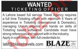 Ticketing Officer Jobs 2020 in Blaze Travels & Tours