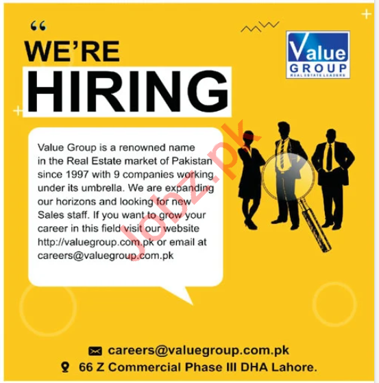 Value Group Lahore Jobs 2020 for Sales & Marketing Staff