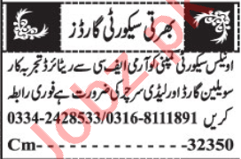Security Guard & Lady Searcher Jobs 2020 in Quetta