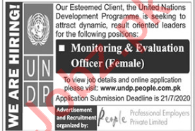 UNDP Jobs 2020 for Monitoring & Evaluation Officer