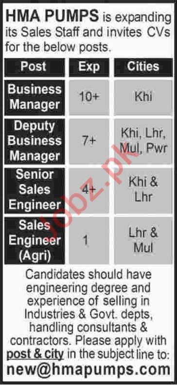 Business Manager & Senior Sales Engineer Jobs 2020