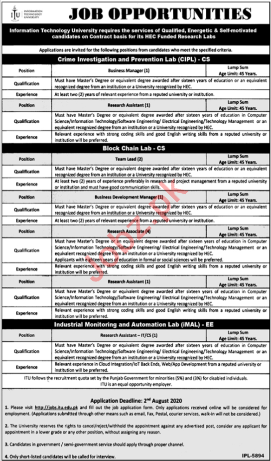ITU University Lahore Jobs for Research Assistant & Manager