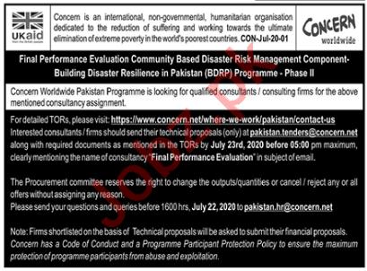 Concern Worldwide Pakistan Jobs 2020 for Consultants