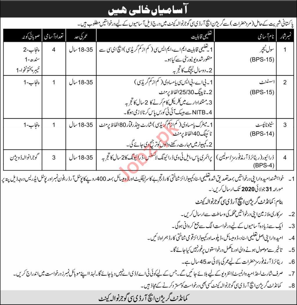 Garrison HRDC Gujranwala Cantt Jobs for Teacher & Drivers