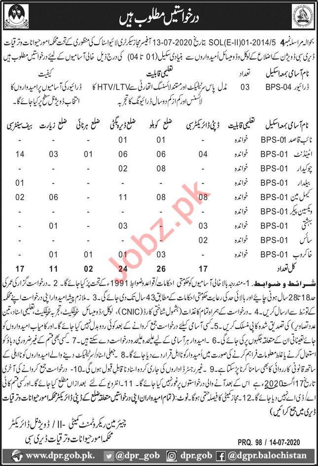 Livestock Department Jobs 2020 for Drivers & Naib Qasid