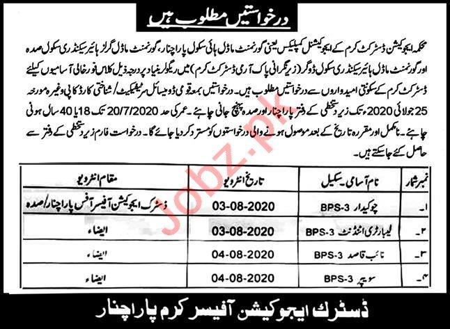District Education Department Sadda Kurram Jobs 2020