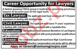 Tax Lawyer & Civil Lawyer Jobs 2020 in Samsons Group Co