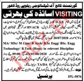 Govt College of Technology GCT Lahore Jobs 2020 for Teachers