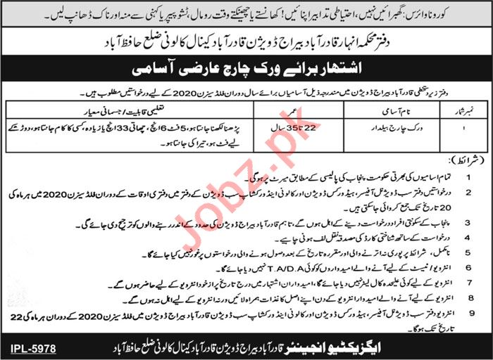 Qadirabad Barrage Division Hafizabad Jobs 2020 for Baildar