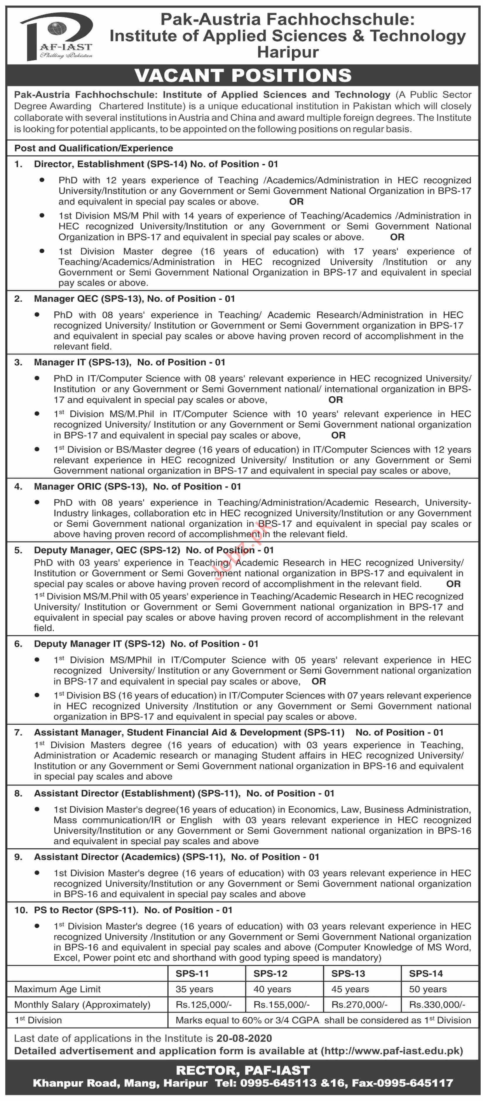 PAF IAST Institute Jobs 2020 for Director & Manager QEC
