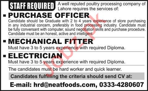Purchase Officer & Mechanical Fitter Jobs 2020 in Lahore