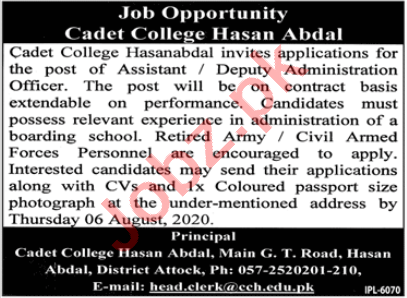 Cadet College Hasan Abdal Jobs 2020 for Administrator