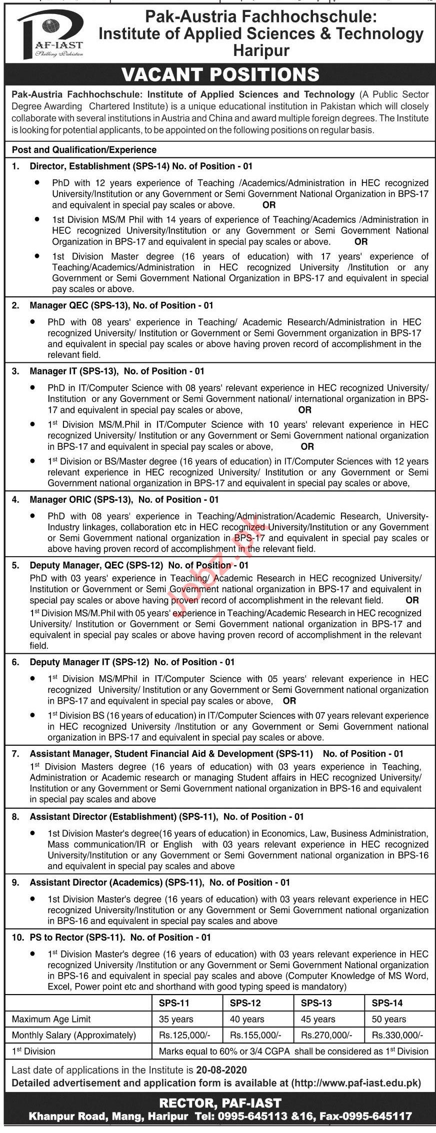 PAF IAST Institute Jobs 2020 Manager & Personal Secretary