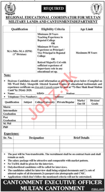 Military Lands & Cantonment Department Jobs for Coordinator