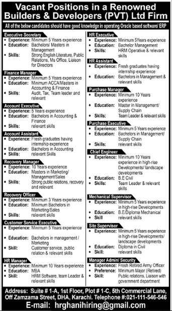 Builders & Developers Private Limited Jobs 2020 in Karachi