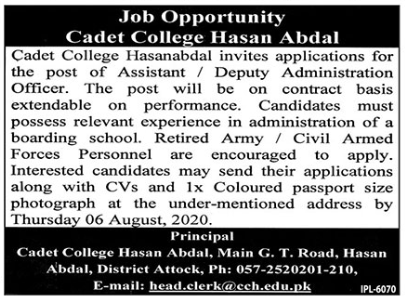 Pakistan Army Cadet College Jobs 2020 in Hassan Abdal