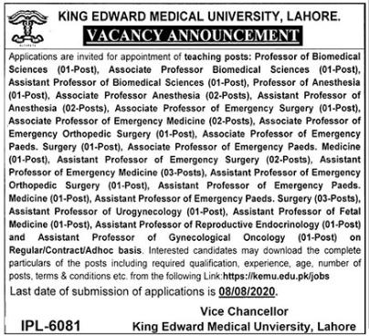 King Edward Medical University Jobs 2020 in Lahore
