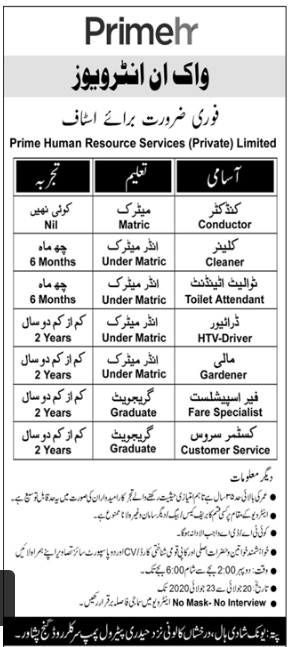 Prime Human Resources Services Walk In Interviews