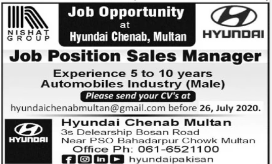 Nishat Group Job 2020 For Sales Manager