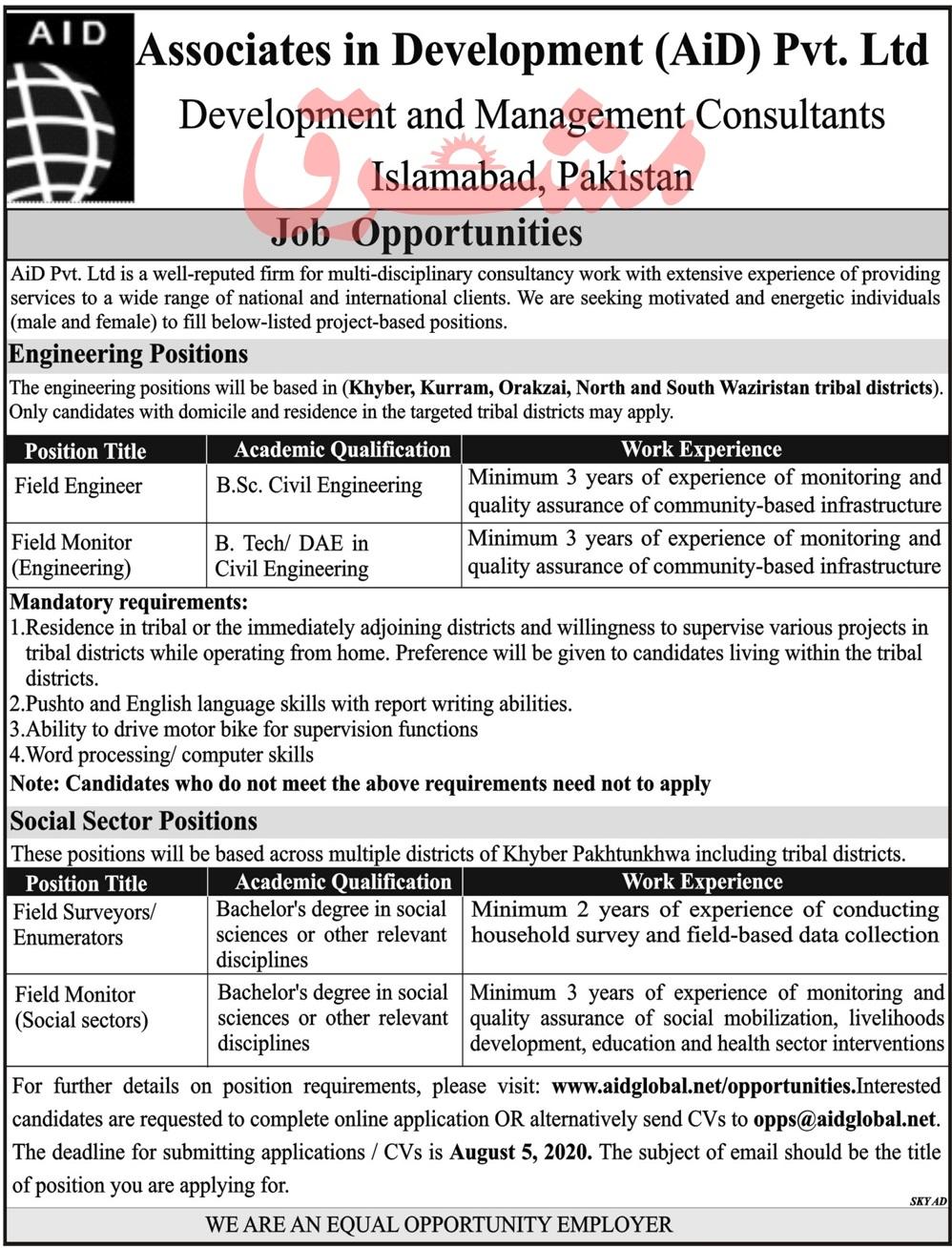 Associates in Development AiD Pvt Ltd Jobs 2020