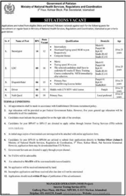 Ministry of National Health Services Jobs 2020 via ITS