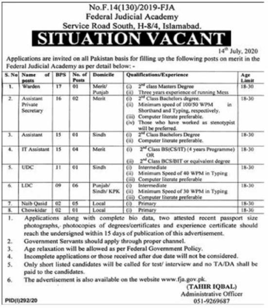 Federal Judicial Academy FJA Jobs 2020 in Islamabad