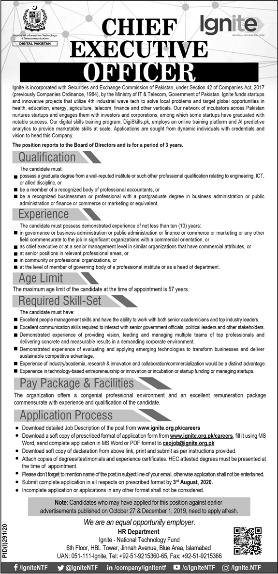 Chief Executive Officer CEO Job 2020 in Islamabad