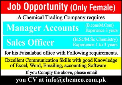 Chemical Trading Company Jobs 2020 in Faisalabad